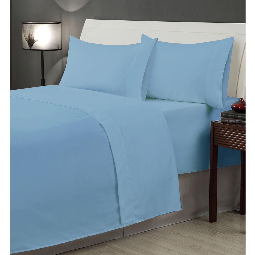 Casual Living 6-Piece Blue Microfiber Queen Sheet Set 12960