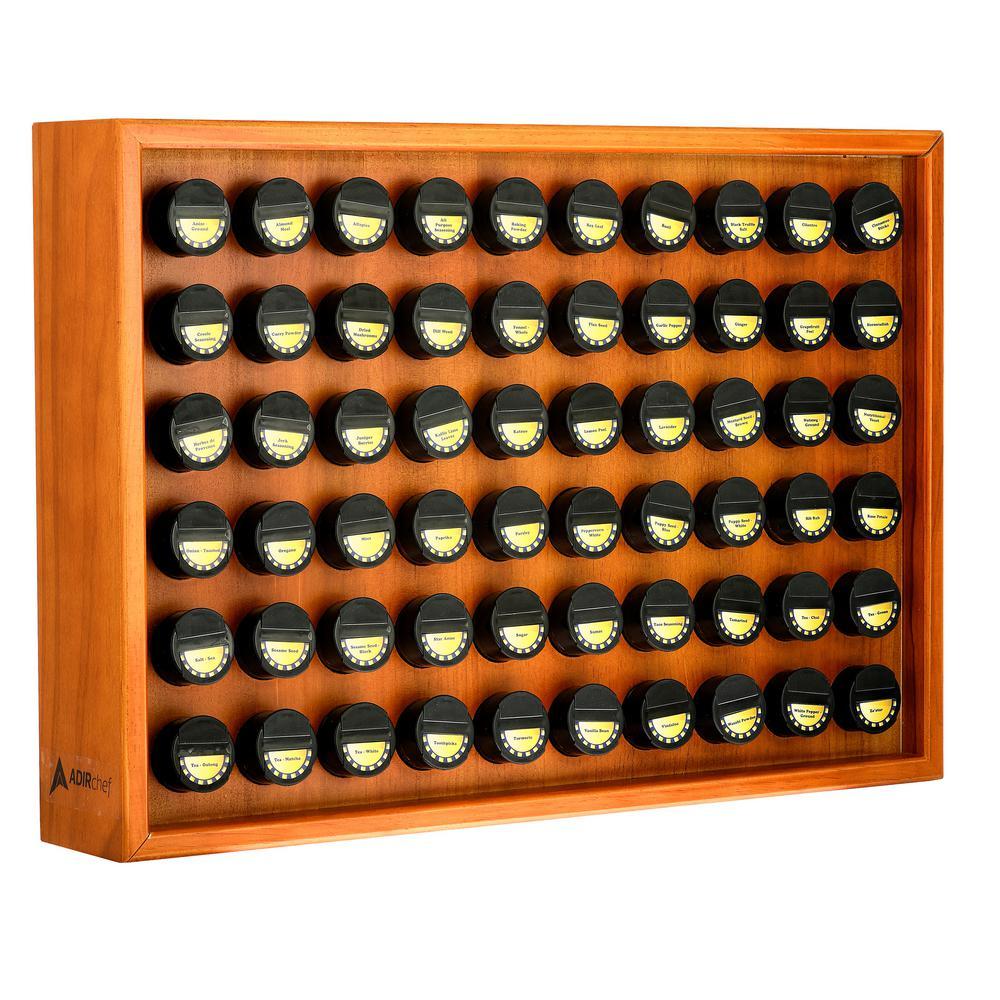 60.4 oz. Jars Espresso Wood Spice Rack (61-Piece)