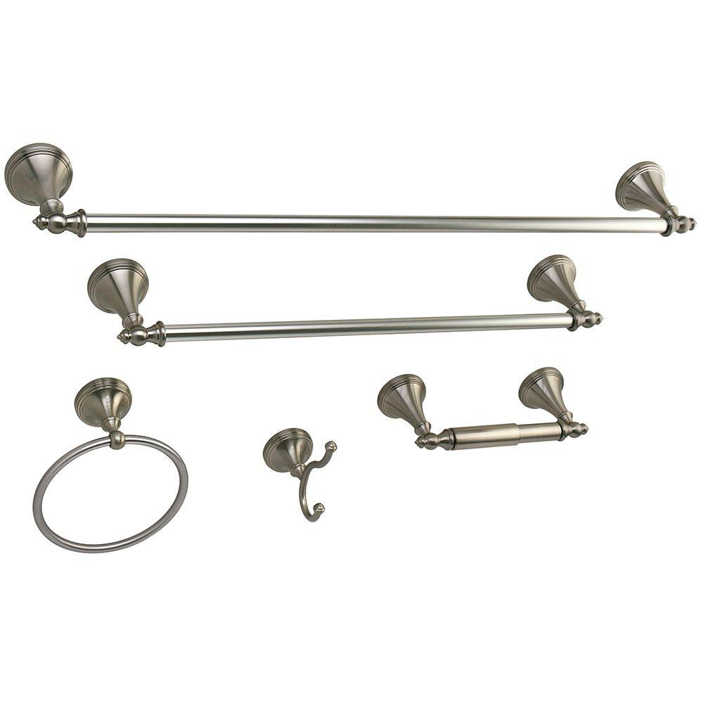 Kingston Br 5 Piece Bathroom Accessory Set In Satin Nickel