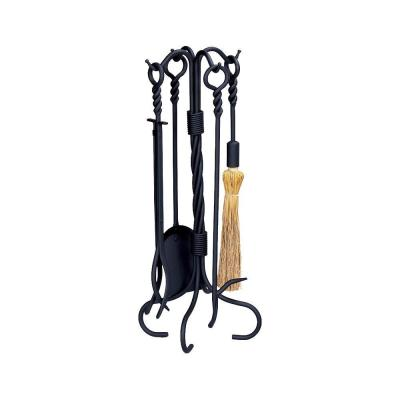 Black Wrought Iron 5-Piece Fireplace Tool Set with Ring/Twist Handles with Heavy Weight Construction