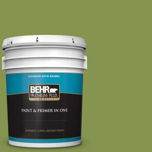 Behr Premium Plus 5 Gal M360 6 Bold Avocado Satin Enamel Exterior Paint And Primer In One 934005 The Home Depot
