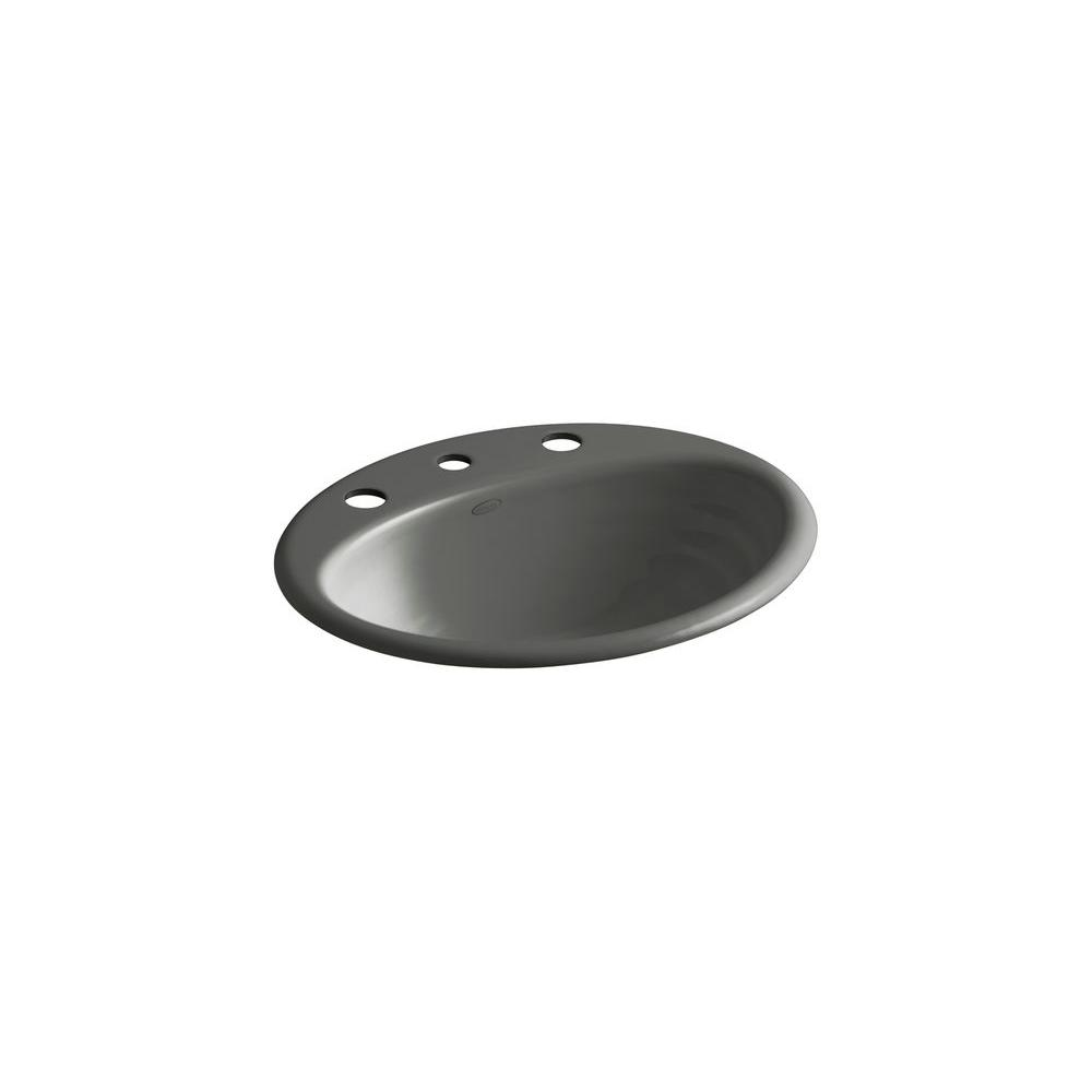 Ellington Drop-in Bathroom Sink in Thunder Grey