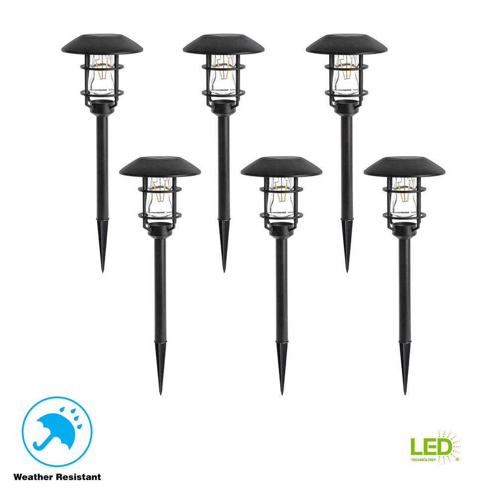 Solar Landscape Lighting Outdoor The Home Depot Wiring Lights With Colored Shades Black Pathlight V Filament Led Light 6 Pack