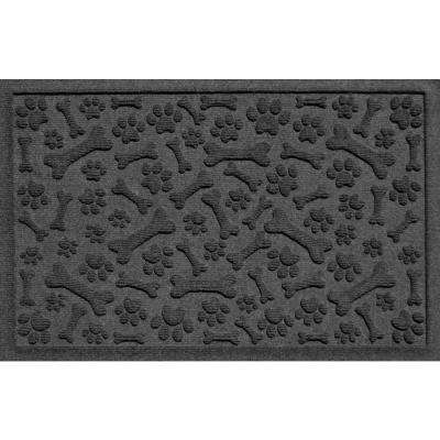 Charcoal 24 in. x 36 in. Paws and Bones Polypropylene Pet Mat