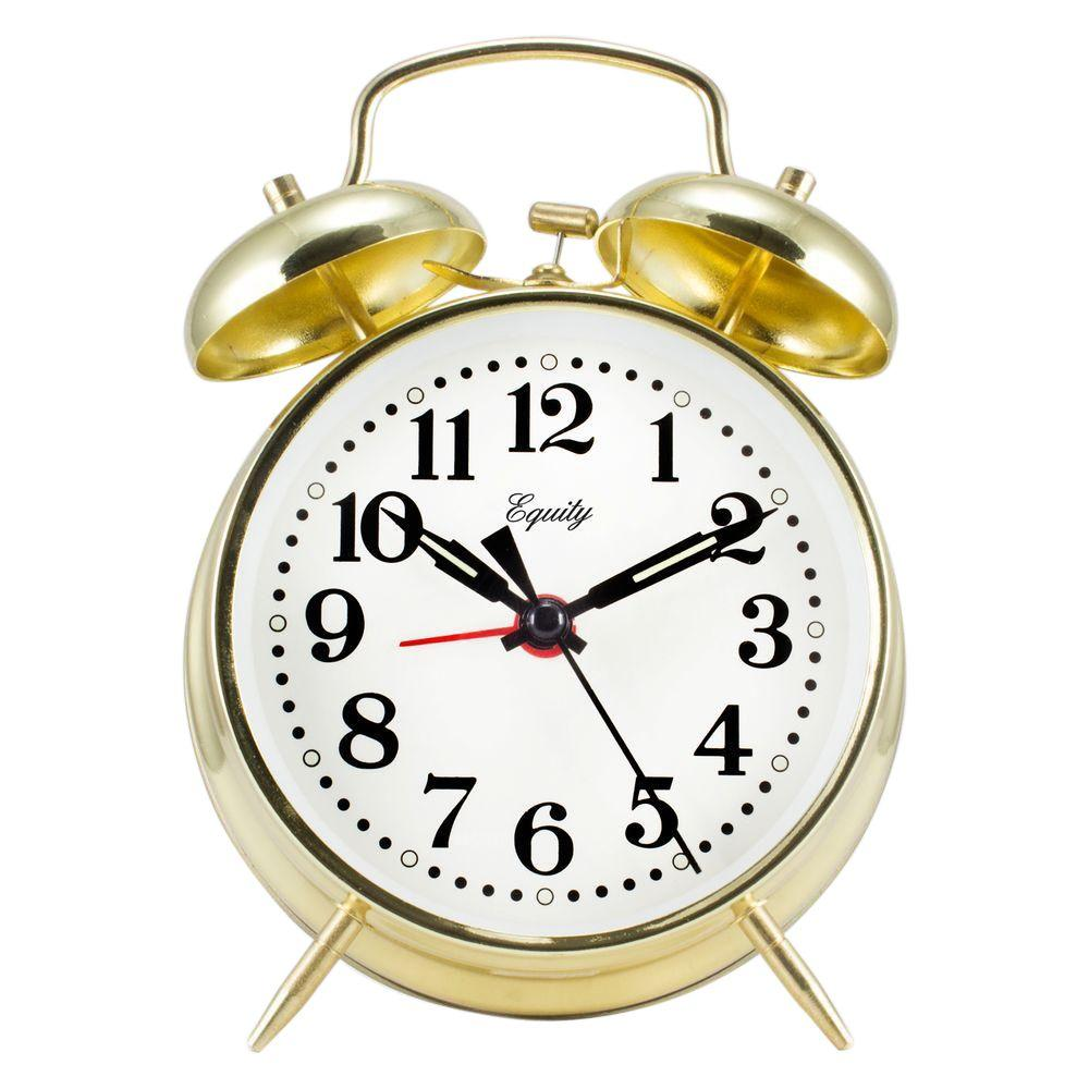 Equity by La Crosse Analog 4 5 in  Round Gold Metal Twin Bell Keywind Alarm  Clock
