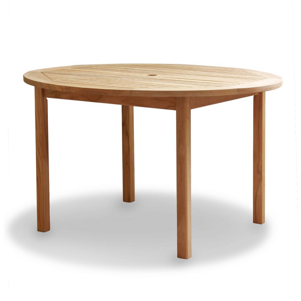 Heaton Natural Round Teak Outdoor Dining Table