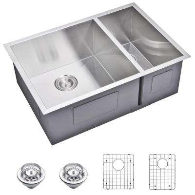 Undermount Zero 27 in. 0-Hole Double Bowl Kitchen Sink with Strainer and Grid in Premium Scratch Resistant Satin Finish