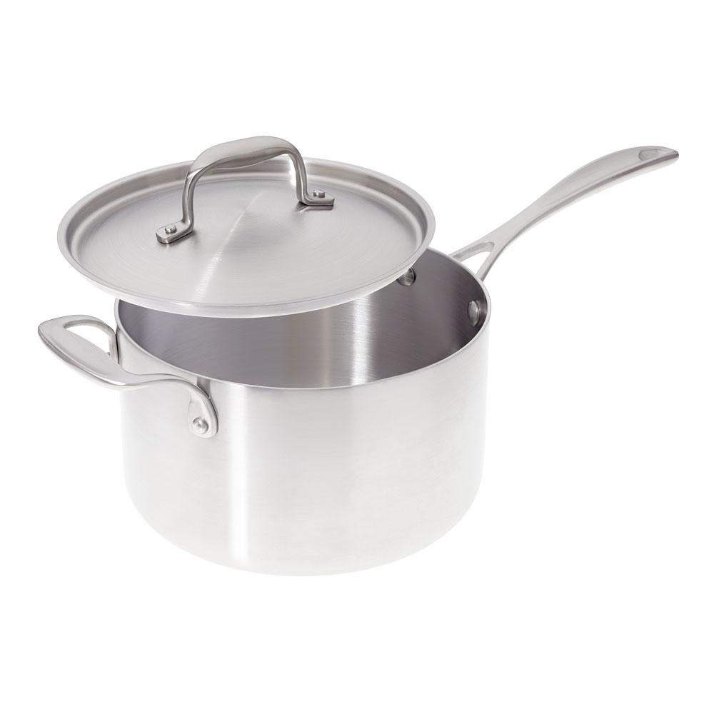 American Kitchen 4 Qt Premium Stainless Steel Sauce Pan With Cover Ak004 Sp The Home Depot