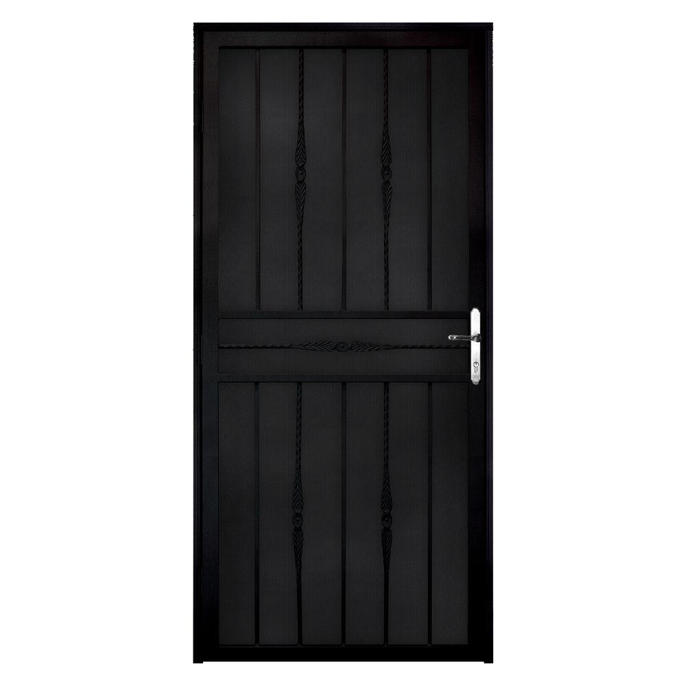 Unique Home Designs 36 in. x 80 in. Cottage Rose Black LH Recessed Mount Security Door with Perforated Metal Screen and Nickel -DISCONTINUED