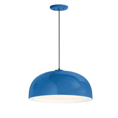 Dome 14 in. Shade 1-Light Blue Finish Pendant
