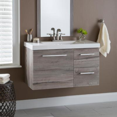 Larissa 37 in. W x 19 in. D Wall Hung Bath Vanity in White Washed Oak with Cultured Marble Vanity Top in White with Sink