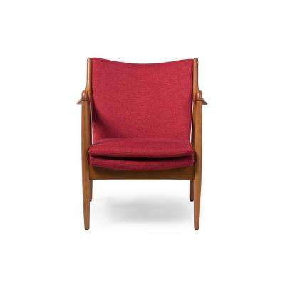 Shakespeare Mid-Century Red Fabric Upholstered Accent Chair