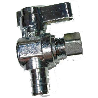 1/2 in. PEX Barb Inlet x 3/8 in. O.D. Compression Outlet 1/4-Turn Angle Ball Valve (10-Pack)