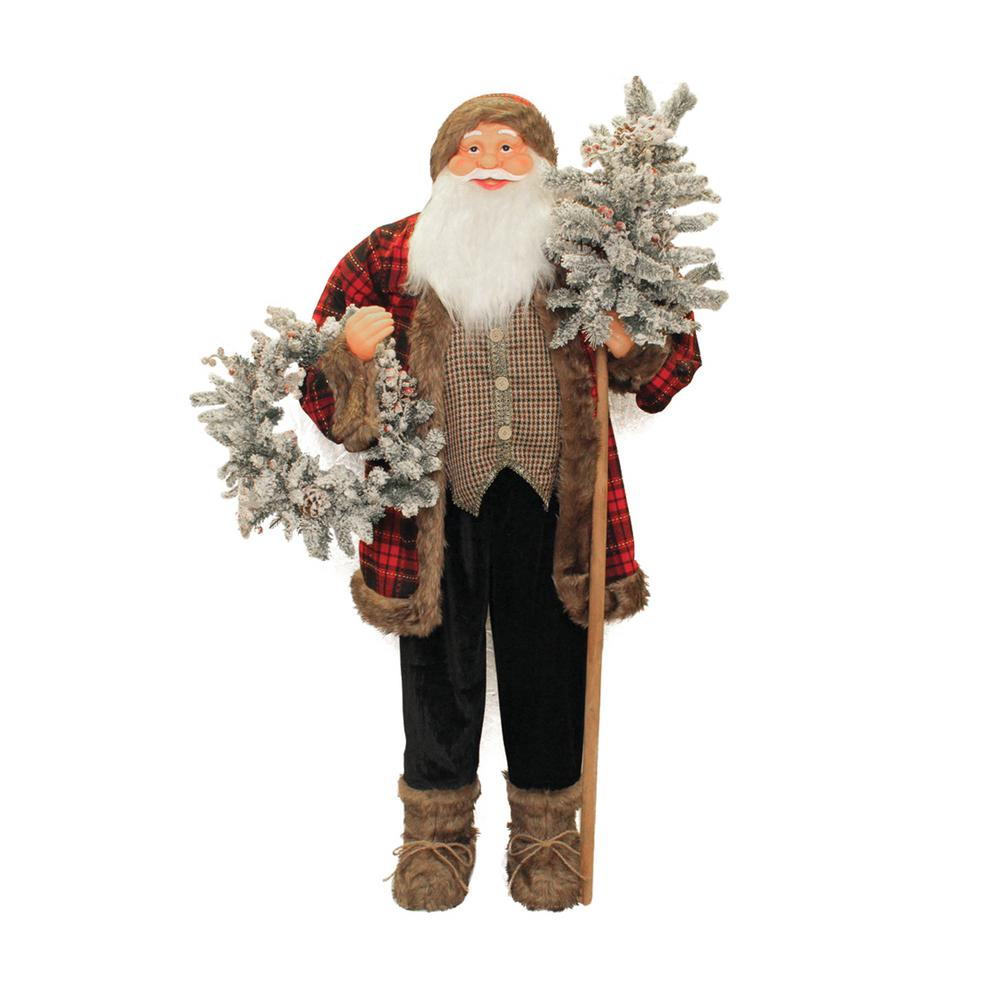 60 in. Standing Santa Claus Christmas Figure with Flocked Alpine Tree