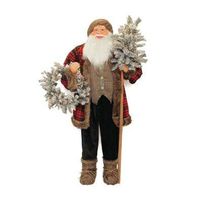60 in. Christmas Standing Jolly Santa Claus Figure with Flocked Alpine Tree and Wreath