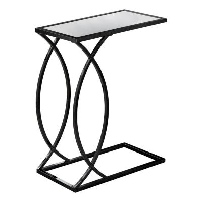Jasmine 24 in. Mirror Top with Black Nickel Metal Accent Table
