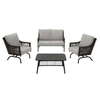 Bayhurst 4-Piece Black Wicker Outdoor Patio Conversation Seating Set with CushionGuard Stone Gray Cushions