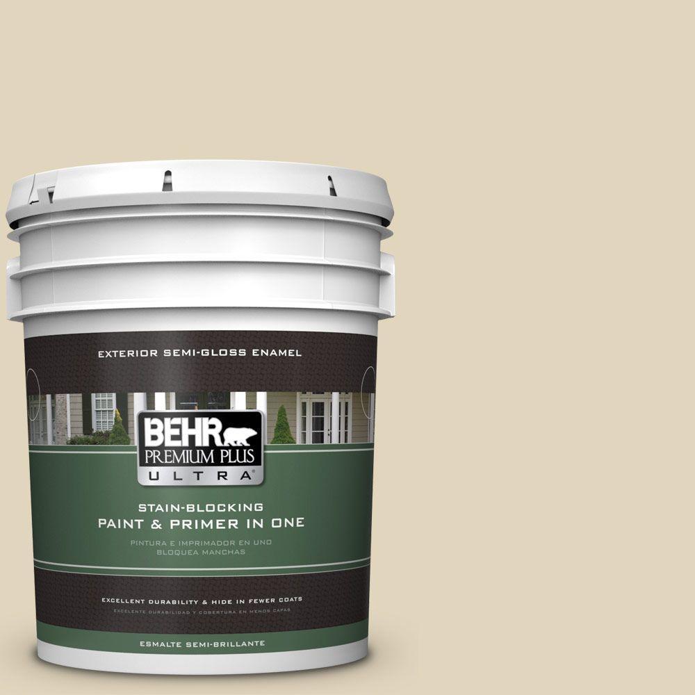 BEHR Premium Plus Ultra 5-gal. #PPU7-17 Wax Sculpture Semi-Gloss Enamel Exterior Paint