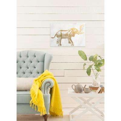 "24 in. x 16 in. ""Elephant"" By Wynwood Studio Gold Foil Graphic Art on Canvas"