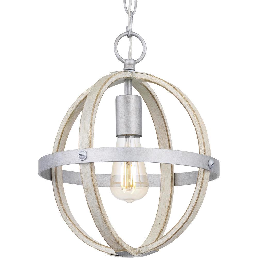 Keowee 1-Light Galvanized Mini-Pendant with Antique White Wood Accents