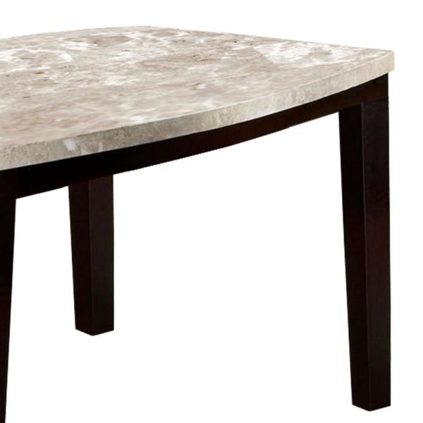 Benjara Marion I 30 In H Espresso Finish Marble Top Oval Edge Dining Table Bm137546 The Home Depot