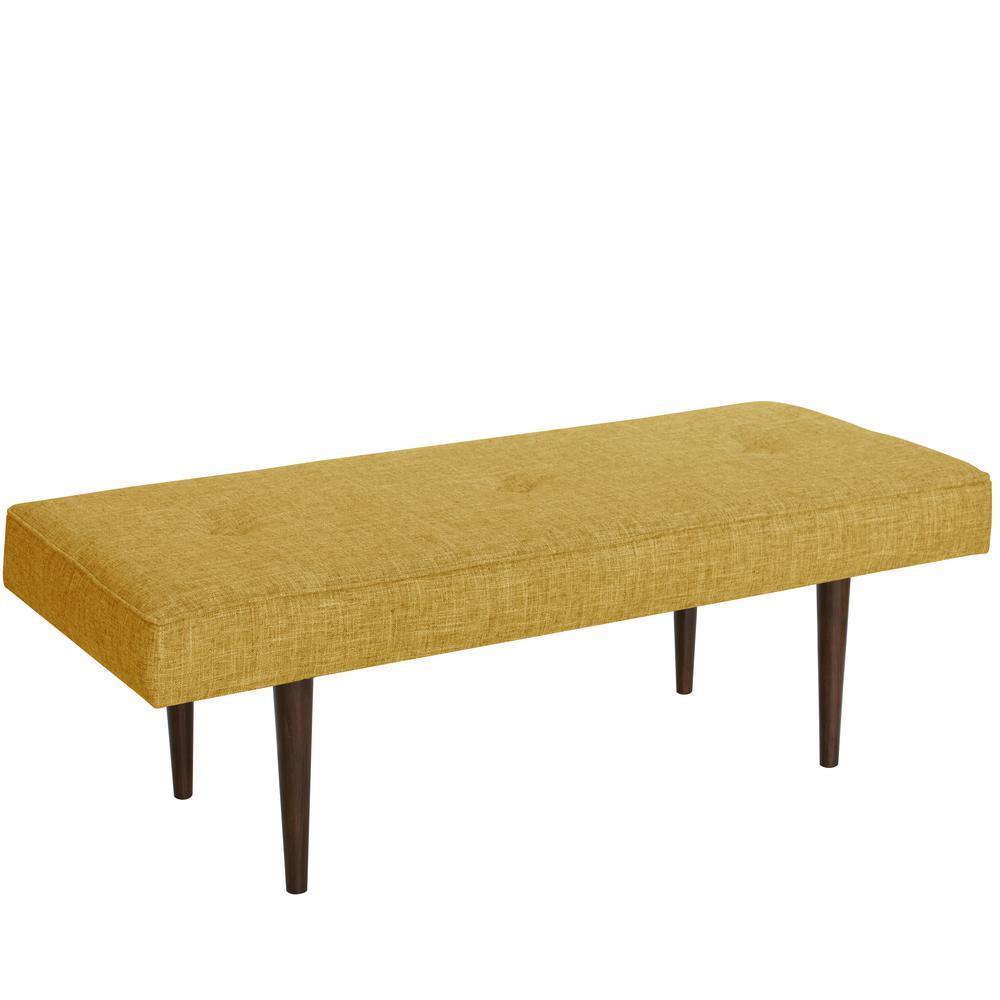 Henderson Button Zuma Golden Tufted Bench with Cone Legs