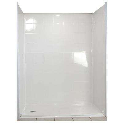 Standard 31 in. x 60 in. x 77-1/2 in. 5-piece Barrier Free Roll In Shower System in White with Left Drain