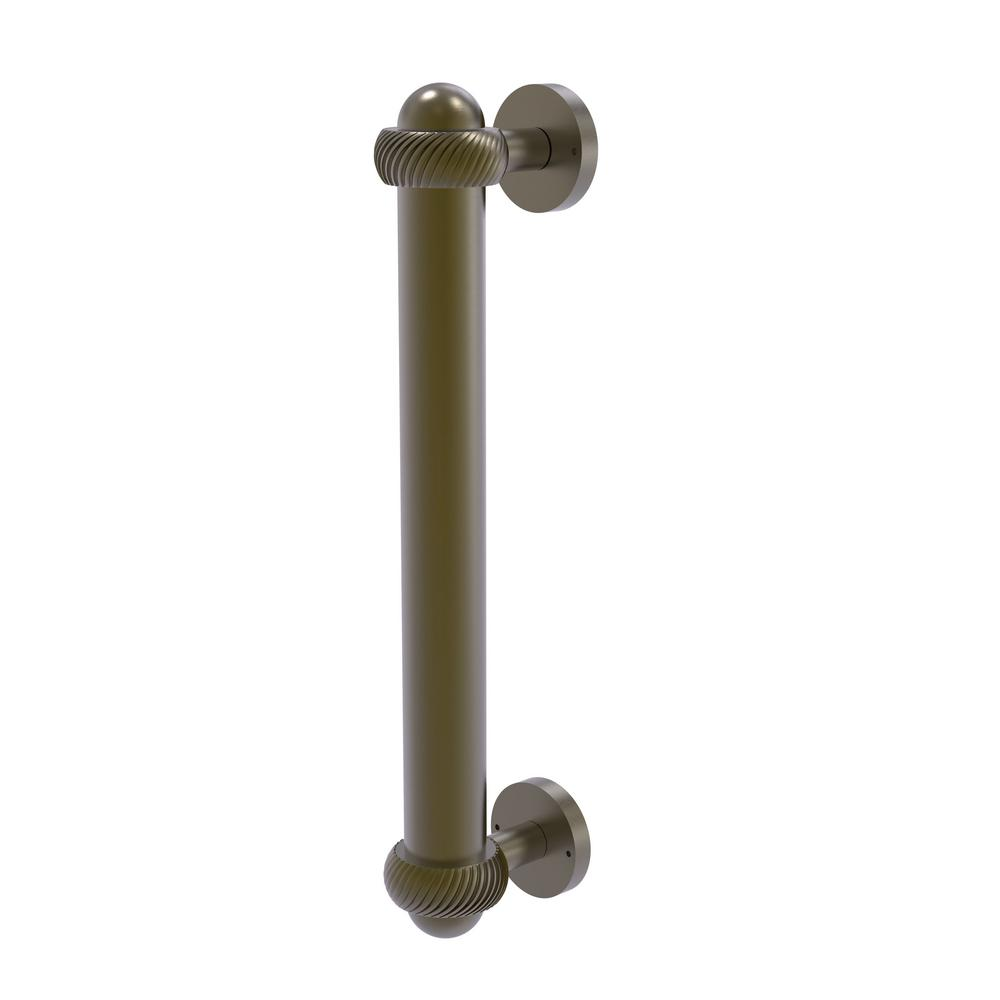 Door Pull with Twisted Accents in Antique Brass - Allied Brass 8 In. Door Pull With Twisted Accents In Antique Brass