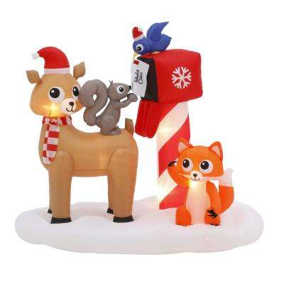 5.5 ft. Pre-lit Inflatable Woodland Creatures Mailing Letter to Santa Scene
