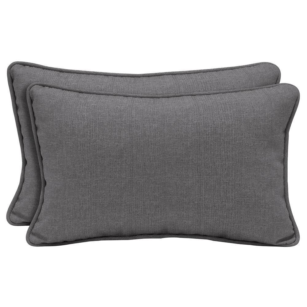 Sunbrella Cast Slate Lumbar Outdoor Throw Pillow (2-Pack)