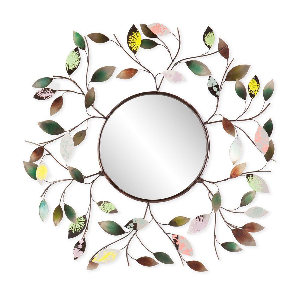 32.5 in. x 32.5 in. Multi-Color Decorative Metallic Leaf Framed Mirror