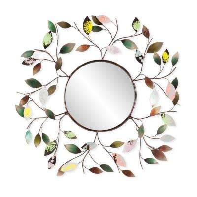 32.5 in. x 32.5 in. Multi-Color Decorative Metallic Leaf Framed Mirror