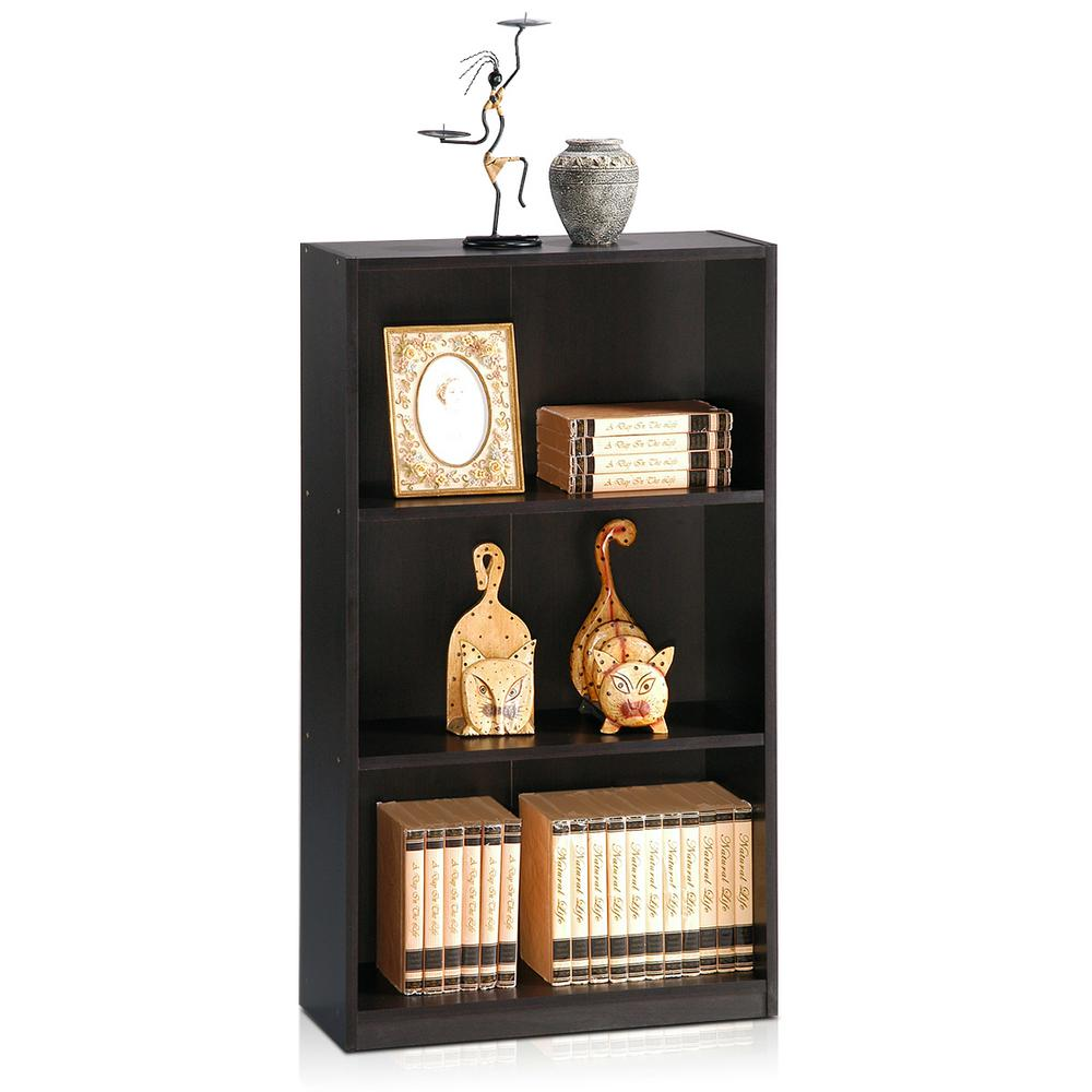Basic 3-Self Espresso Open Bookcase