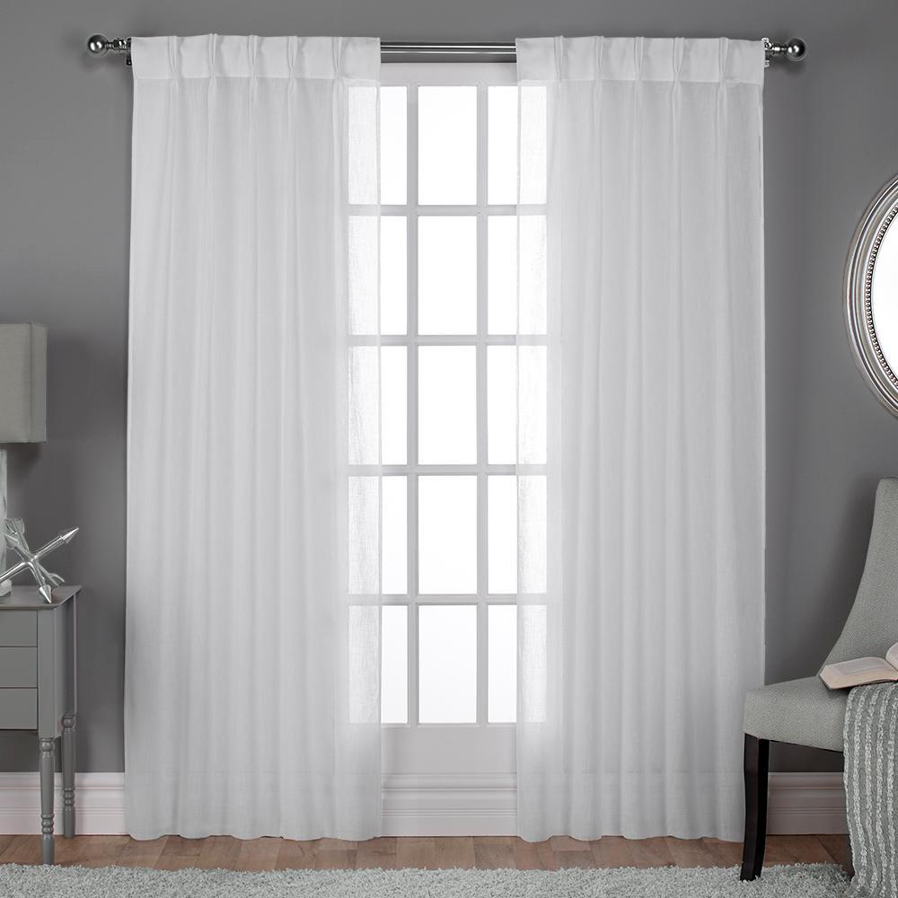 Belgian Pinch Pleat Winter White Textured Linen Look Jacquard Sheer Window Curtain
