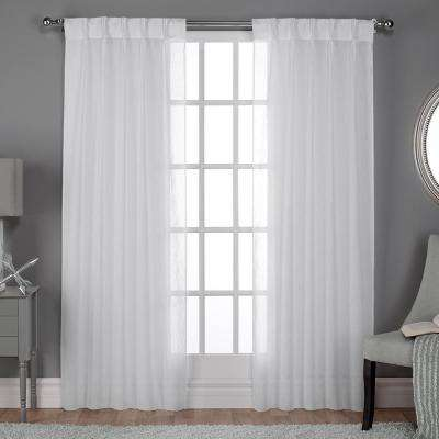 Belgian 30 in. W x 108 in. L Sheer Pinch Pleat Top Curtain Panel in Winter White (2 Panels)