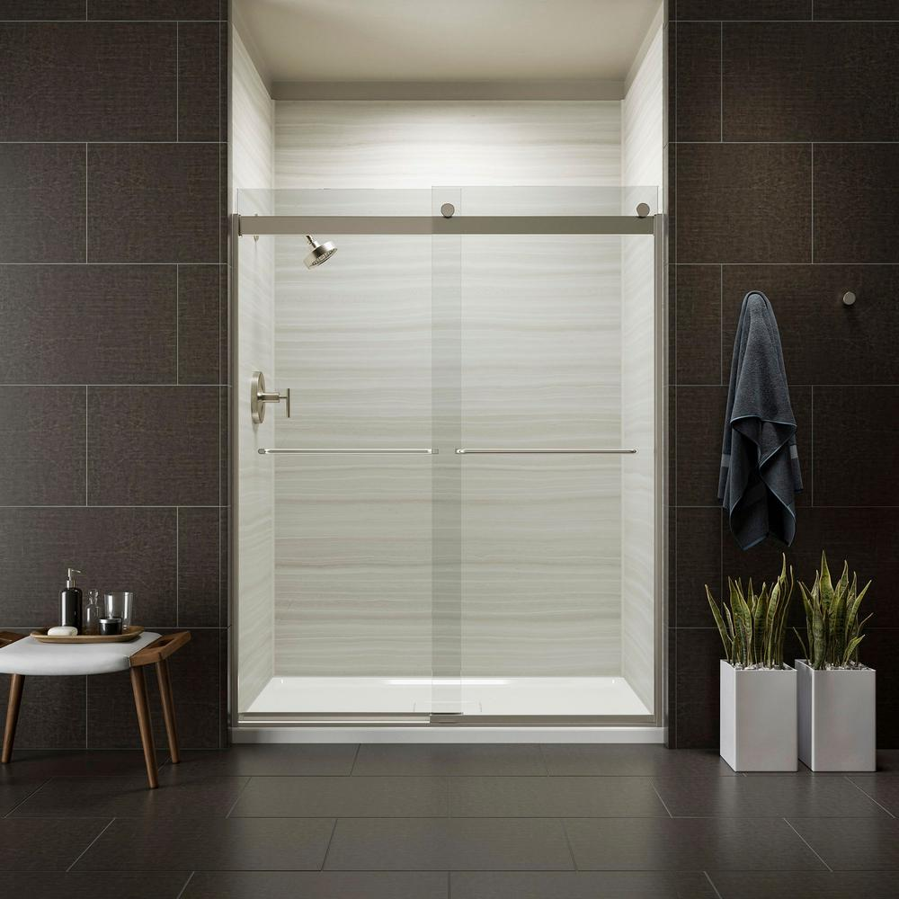 Frameless Sliding Shower Door In Matte Nickel