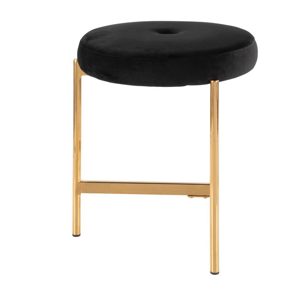 Super Lumisource Chloe 18 In Black Velvet And Gold Vanity Stool Unemploymentrelief Wooden Chair Designs For Living Room Unemploymentrelieforg