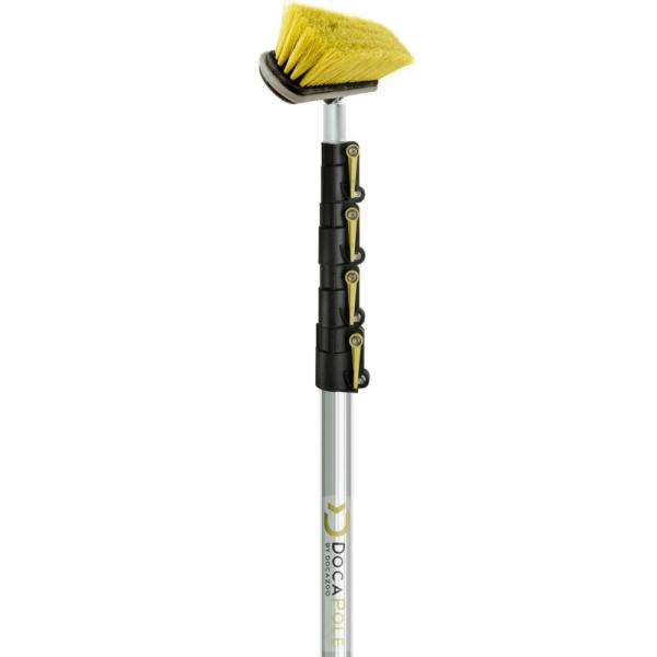 Medium Bristle Deck Brush + 7 ft. to 30 ft. Extension Pole 11 in. Scrub Brush with Telescopic Pole
