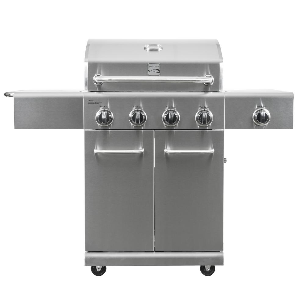 kenmore 4 burner propane gas grill in stainless steel with