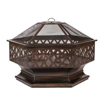 Ventura 36 in. x 30 in. Steel Hexagonal Wood Burning Fire Pit in Brushed Bronze with Fire Tool