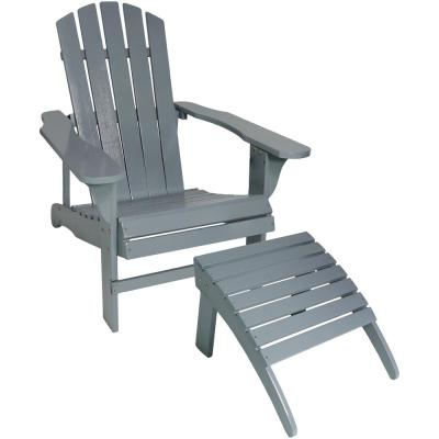 Classic Gray Outdoor Wooden Adirondack Chair and Ottoman Set