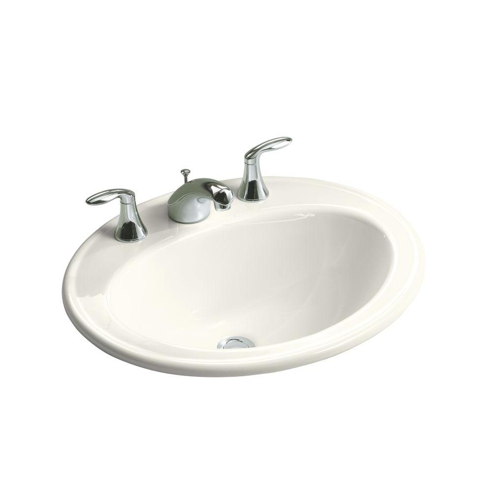 KOHLER Pennington Drop-In Vitreous China Bathroom Sink in Biscuit with Overflow Drain