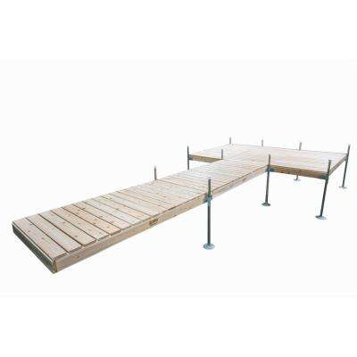 24 ft. L with 8 ft. x 12 ft. Platform Style Cedar Complete Dock Package
