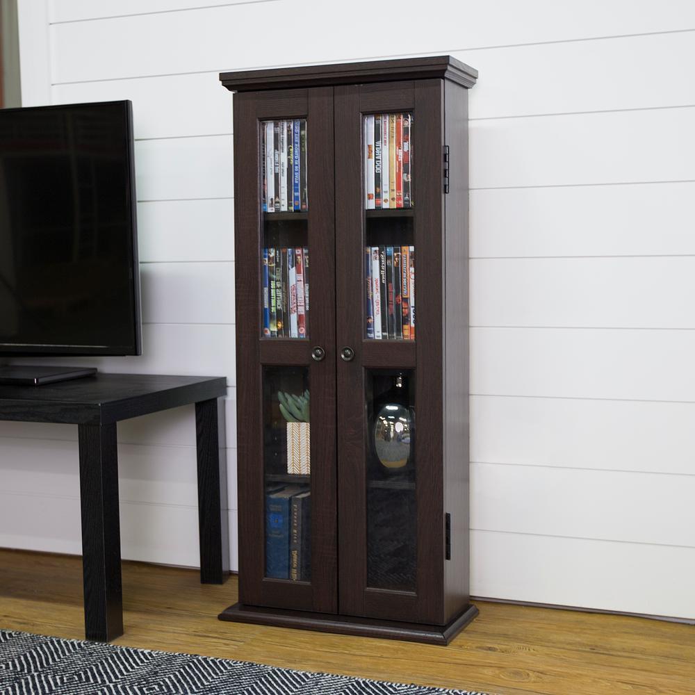 41'' Traditional Wood Bookcase Storage Cabinet - Espresso