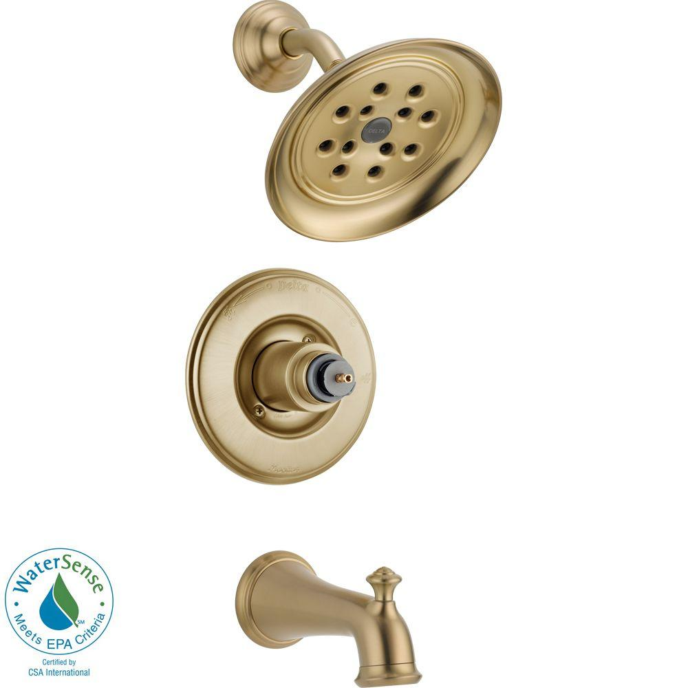 Delta Victorian 1-Handle Tub and Shower Faucet Trim Kit with H2Okinetic in Champagne Bronze (Valve and Handles Not Included)