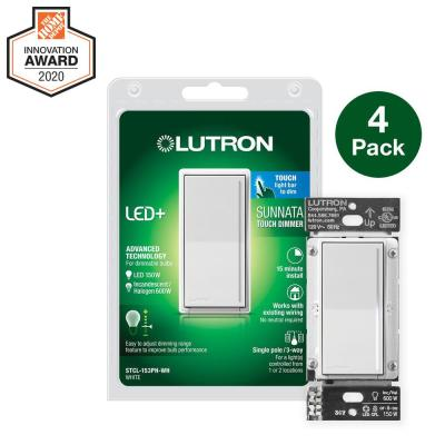 Sunnata Touch Dimmer with LED+ Advanced Technology for Superior Dimming of LED, Incandescent/Halogen Bulbs, White (4-Pk)