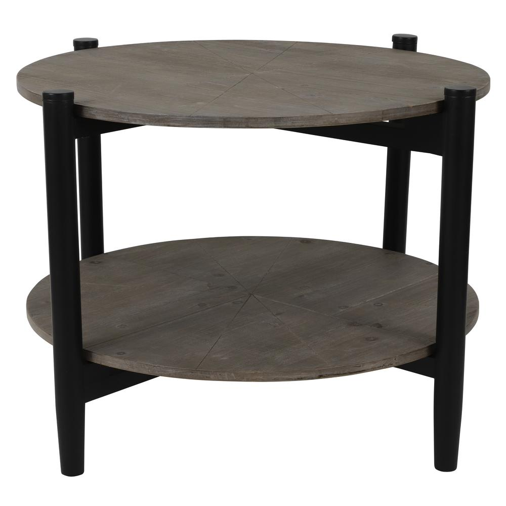 - Decor Therapy Tonya Distressed Wood And Black Round Coffee Table