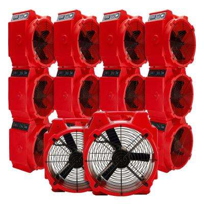 1/4 HP Polar Axial Blower Fan High Velocity Air Mover for Water Damage Restoration in Red