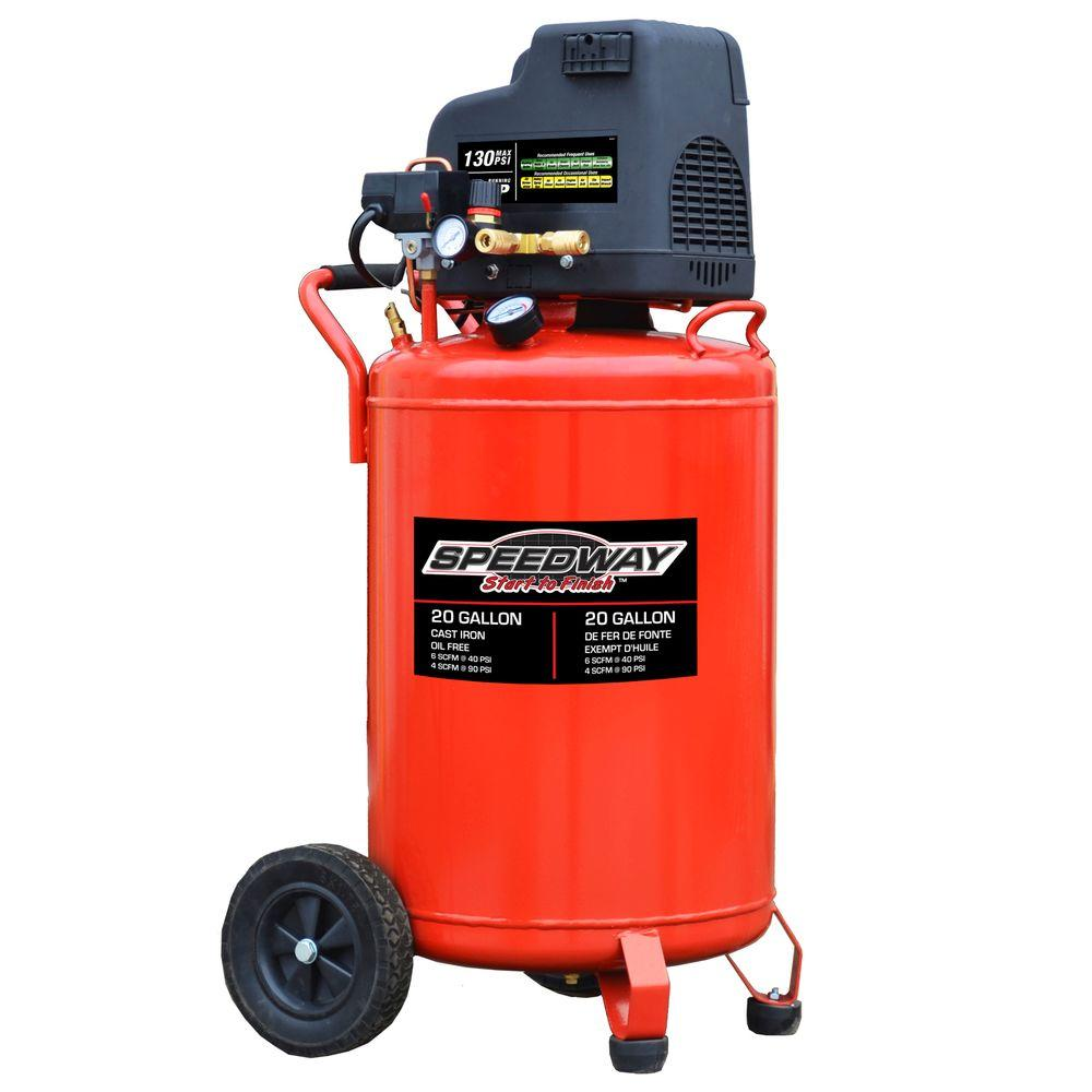 SPEEDWAY 20 gal. Oil-Free Vertical Compressor with No-Flat Tires