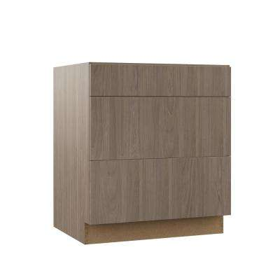 Edgeley Assembled 30x34.5x23.75 in. Pots and Pans Drawer Base Kitchen Cabinet in Driftwood